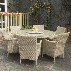 Lisbon 6 seater round dining set w lazy susan