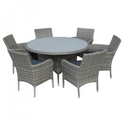 Lisbon 6 seater round set grey polywood