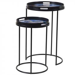 Marble set of two blue effect side tables
