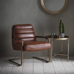 Modern leather lounge chair matt saddle