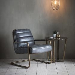 Modern leather lounge chair pewter