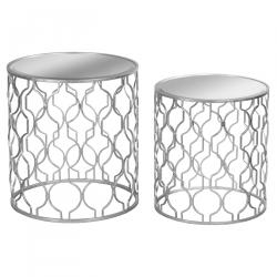 Modern silver foiled side tables pair