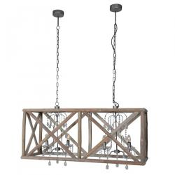 Modern twin wooden frame chandeliers