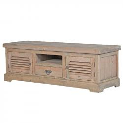 Rustic french louvred door entertainment cabinet