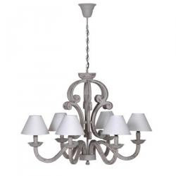 Rustic grey 6 arm chandelier
