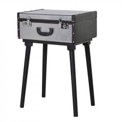 Trunk silver standing suitcase table