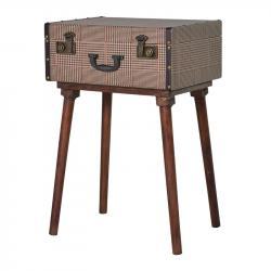 Trunk tweed suitcase standing table