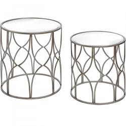 Urban lattice detail silver side tables pair