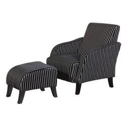 Urban pinstripe occasional chair with footstool