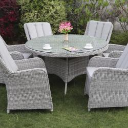 Verona 6 seater round set grey