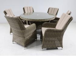 Verona 6 seater round set natural