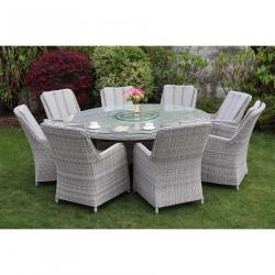 Verona 8 seater round set grey
