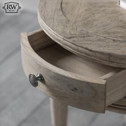 Vintage round 1 drawer side table