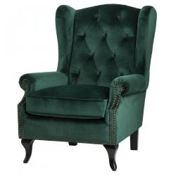 Vintage emerald green button pressed wing chair