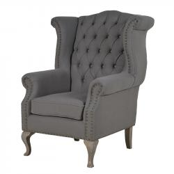Vintage grey button back armchair