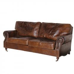 Ex display vintage leather 3 seater sofa