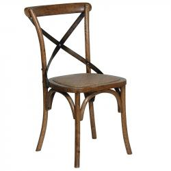 Industrial x back dark elm dining chair